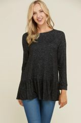 Black/Heather Grey A Line Ruffle Fleece Top (T103)