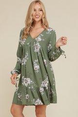 Olive Floral V Neck Babydoll Dress (SDB213)