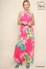 Fuchsia Floral Halter Neck Maxi Dress (D328)