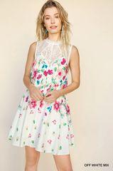 Off White Floral Sleeveless Keyhole Lace Mock Neck Dress (D327)