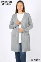 Plus Size Heather Grey Cardigan (SDB476)