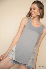 Heather Grey Sleeveless Top with Lace Side Panels (T974)