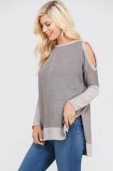 Charcoal Grey Long Sleeve Key Hold Shoulder Top (SDB263)