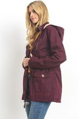 Mulberry Lightly Padded Fur Lined Hooded Jacket (SDB234)