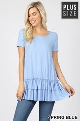 Spring Blue Ruffle Bottom Plus Size Top (PS18)