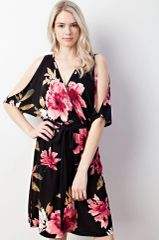 Black Floral Cold Shoulder Midi Dress (SDB88)