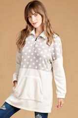 Ivory/Grey Polka Dot Fur Fleece Long Sleeve Top (SDB275)