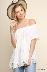 Off White Off Shoulder Ruffle Sleeve Top (T976)