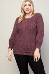 Plus Size Maroon Fuzzy Sweater (SDB363)