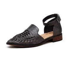Black Braided Accent Cutout Ankle Strap Flats (F101)
