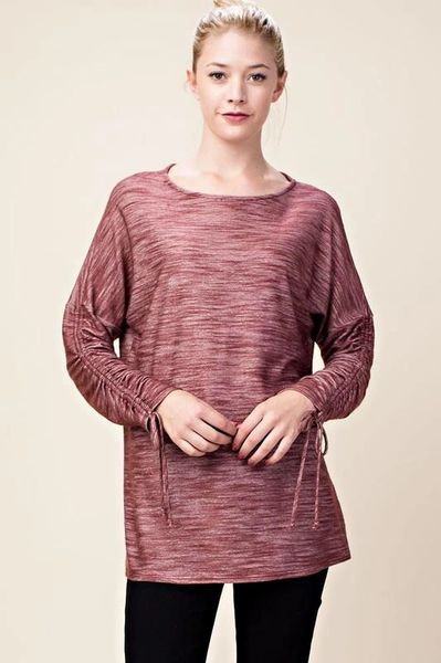 Red Brown Top Wlace Up Ruched Sleeve T995 Strength And Dignity