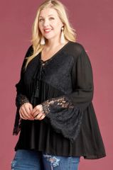Black V Neck Lace Up Tie Woven Top w/Flared Lace Sleeves (PS3)