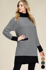 Charcoal/Ivory Striped Sweater Dress w/Front Pocket (SDB454)