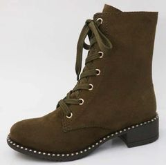 Olive Suede Lace Up Boots