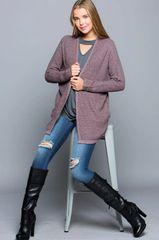 Mauve Marled Knit Cardigan (SDB278)
