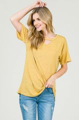 Dusty Rose/Mustard Hole Punch Top (SDB188)