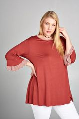 Dark Marsala Tunic with Striped Bell Sleeve (SDB241)