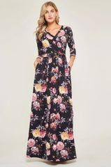 Black Floral 3/4 Sleeve Maxi Dress (SDB225)