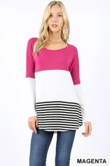 Magenta Long Sleeve Striped Hem Top (T997)
