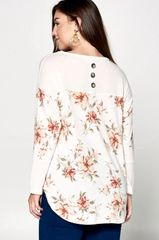 Ivory/Blush Floral Plus Size Hacci Tunic w/Back Buttons (PS24)