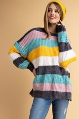 Multi Striped Color Block Sweater (T121)