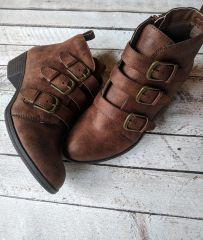 Brown Buckle Booties (SDB491)