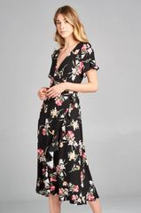 Black Floral Wrap Dress w/Bell Sleeve (SDB245)