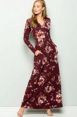 Burgundy Floral Long Sleeve Maxi Dress w/Pockets (SDB260)