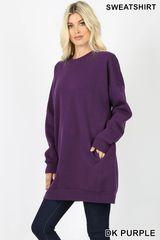 Dark Purple/Denim Blue Sweatshirt Tunic (T143)