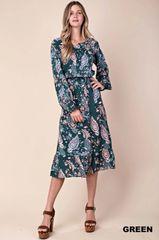 Hunter Green Paisley Floral Ruffle Hem Midi Dress (SDB249)