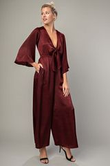 Burgundy Satin Jumpsuit (SDB301)