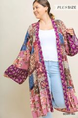 Berry Mix Plus Size Trumpet Sleeve Long Kimono (PS19)