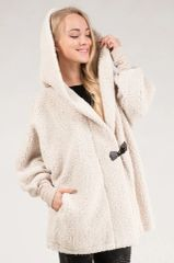 Cream Fuzzy Fleece Oversized Toggle Jacket (SDB239)