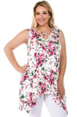 Ivory Floral Sleeveless Plus Size Top w/Pockets (SDB132)