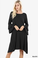 Black Double Bell Sleeve Shark Bite Dress (D2)