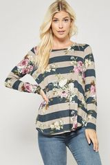 Teal Striped Floral Long Sleeve Top (SDB408)