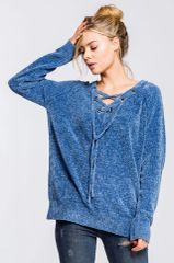 Blue Chenille Eyelet Lace Up Sweater