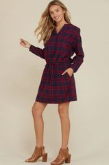 Red Plaid Flannel Long Sleeve Relaxed Fit Dress (SDB215)