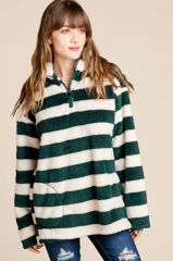 Hunter Green/Wine/Ivory Striped Faux Fur Pullover Top w/Pockets (SDB285)