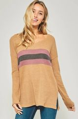 Mustard Thermal Knit Top w/Color-Block Stripe (SDB350)