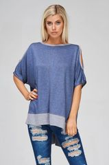 Denim Blue Key Hole Shoulder Boxy Top (SDB216)