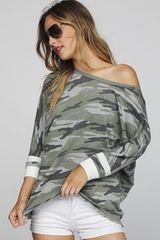Olive Camouflage Top w/Varsity Stripe Sleeve (SDB276)