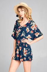 Navy/Coral Floral Criss Cross Strap Romper (SDB95)