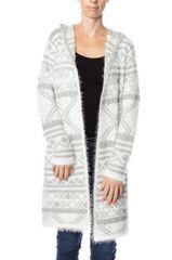 Grey/Ivory Tribal Print Fuzzy Cardigan w/Hood (SDB475)
