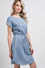 Blue/Heather Grey/Pink Loop Terry Short Sleeve Round Hem Dress (D13)