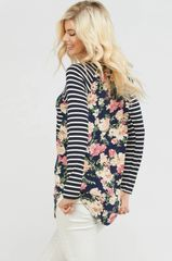 Navy Floral Plus Size Top with Striped Sleeve (SDB262)