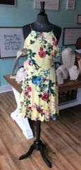 Yellow Floral Spaghetti Strap Midi Dress (SDB151)