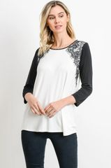 Ivory/Pink/Sage Knit Tunic Top with Eyelash Lace Detail (T933)
