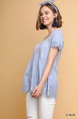 Light Blue Short Sleeve Knit Front Keyhole Top w/Floral Lace Trim (T978)