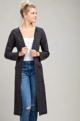 Charcoal Open Front Hoodie Long Cardigan (SDB237)